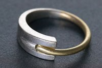 Silver and Gold Channel Split Ring